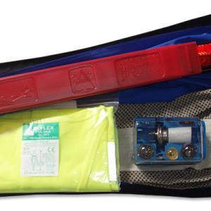 ART. 01747 - kit triangolo super mini, gilet alta visibilità, lampade e guanti